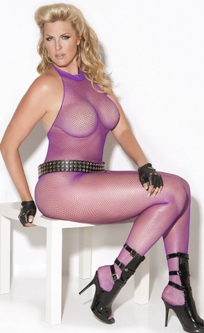 Purple Fishnet Bodystocking Plus Size