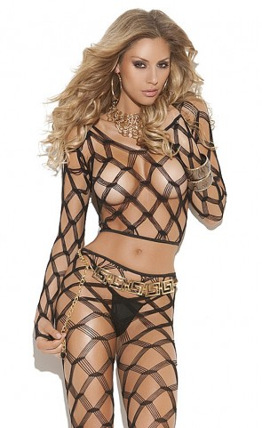 Diamond Net Cami Top And Leggings Set