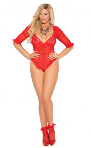 Mesh & Lace Ruffled Red Teddy Plus Size