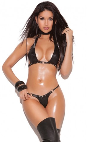 Leather Bra And G-String Set With Rings