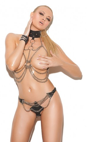 Chain Vest With Leather Collar & Thong