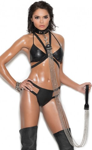 Leather String Bra & Panty Set
