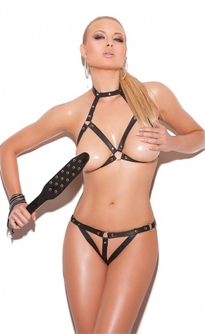 Open Bust & Crotch Leather Bra & G-String