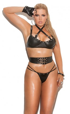 Leather Underwire Bra, Cincher And Panty Set