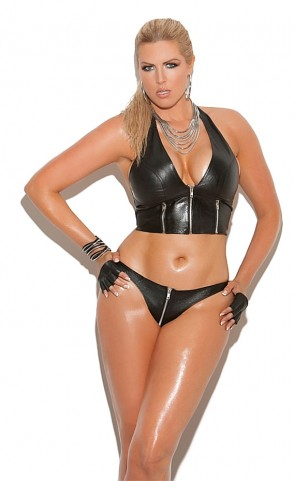 Zip Up Leather Thong Plus Size