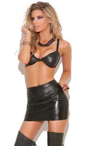 Underwire Leather Bra