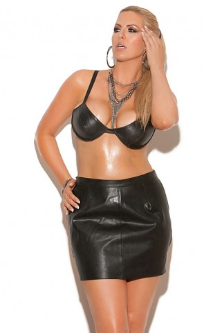 Underwire Leather Bra Plus Size