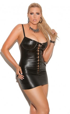 Lace Up Leather Mini Dress Plus Size