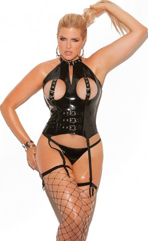 Vinyl Cupless Bustier With Buckles Plus