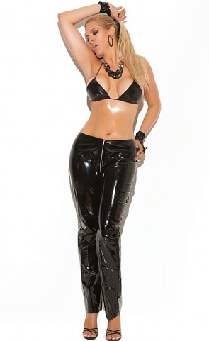 Zip Front Vinyl Pants Plus Size