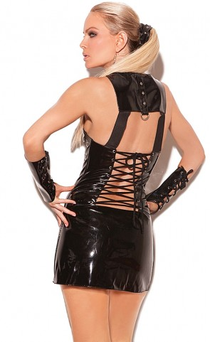 Zipper Front Vinyl Dress