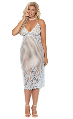 Tea Length Eyelash Lace Gown Plus Size