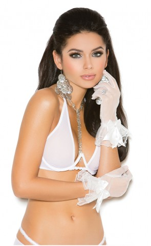 Mesh Wrist Length Gloves With Ruffles