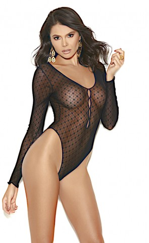 Dotted Mesh Long Sleeved Teddy