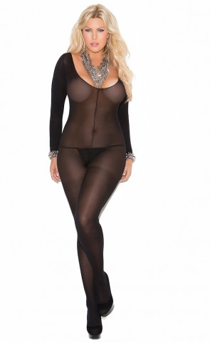 Long Sleeve Bodystocking With Open Crotch Plus