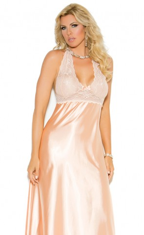 Lace & Charmeuse Halter Gown Plus Size