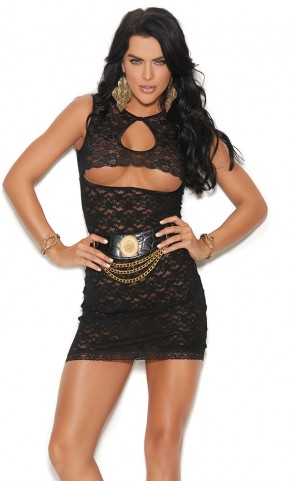 Cut Out Lace Mini Dress