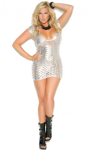 Cut Out Metallic Dress Plus Size
