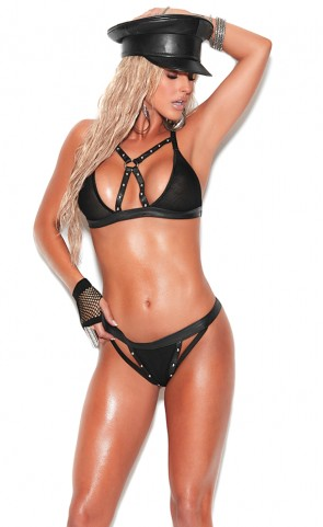 Fishnet & Leather Bra Set