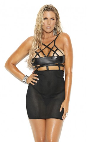 Fishnet & Leather Strappy Dress Plus Size