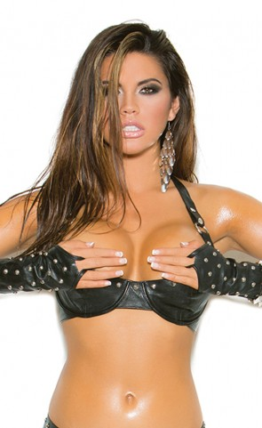 Studded Leather Bra Plus Size