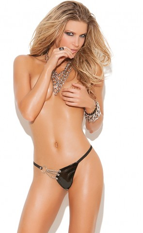 Vinyl G-String With Chain