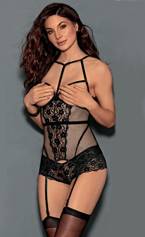 Open Cup Mesh Lace Bustier Set
