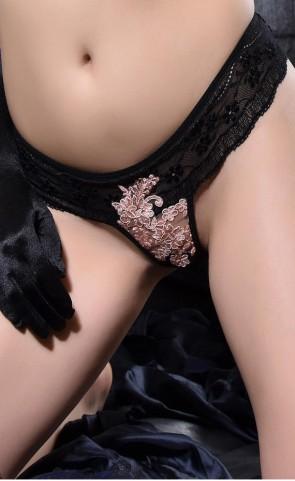 Embroidered Crotchless Lace Thong