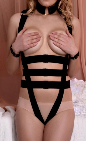 Open Cup Body Harness Choker Teddy