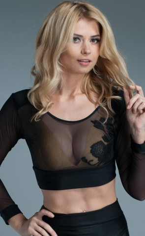See Through Long Sleeves Crop Top