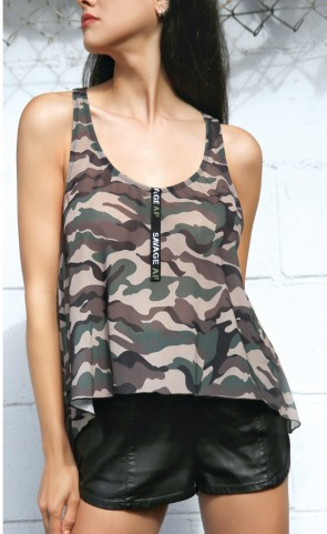 Camo Mesh Swing Top With Savage AF Detail