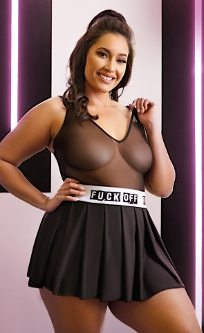F*ck Off Pleated Skater Skirt Plus Size