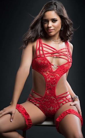 Red Lace Caged Teddy With Garters