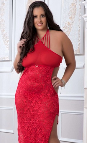 Shoulder-Baring Laced Night Dress Plus Size