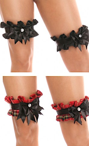 Kitten Pleated Bow Leg Garters (Set of 2)