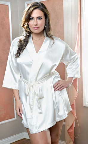 White Satin Robe With Sash Plus Size