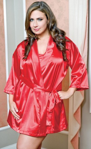 Satin Robe With Sash Plus Size