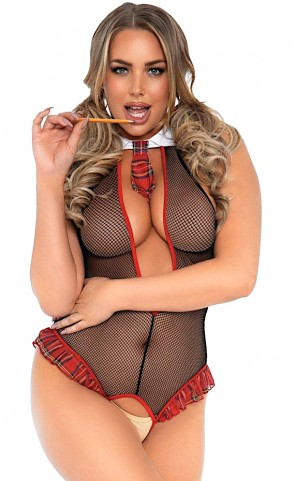 School Girl Crotchless Fishnet Teddy