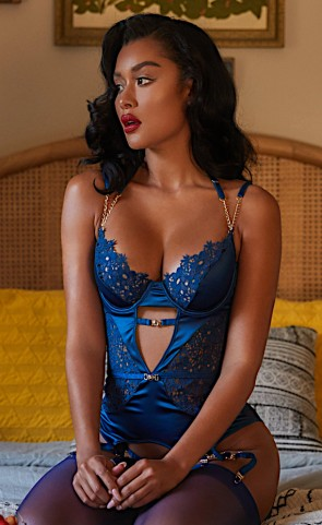 Embroidery Lace & Satin Gartered Bustier Set