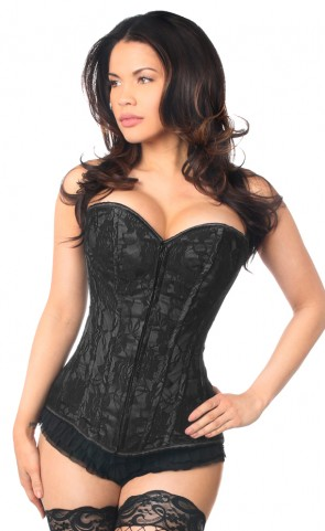Black Lace Front Zipper Corset