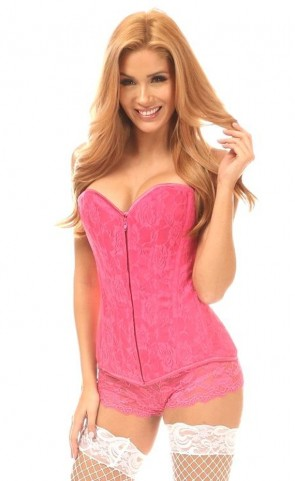 Lavish Lace Overbust Corset With Zipper