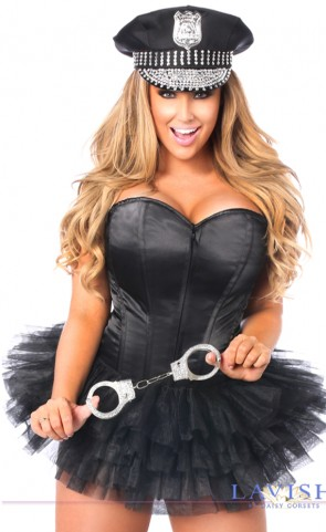 Flirty Cop Corset Costume Plus Size