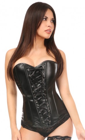 Lavish Wet Look Faux Leather Lace-Up Corset