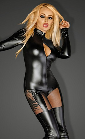 Noir Powerwetlook Catsuit With Tulle Inserts