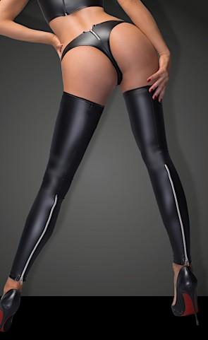 Noir Powerwetlook Stockings With Panty
