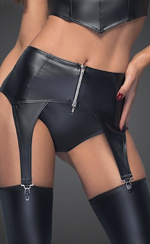 Noir Powerwetlook Zipper Garter Belt