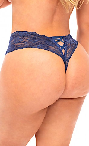 Goodnight Kiss Lace Crotchless Boyshort Plus Size