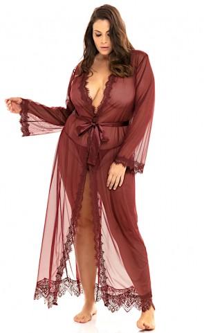 Provence Sheer Eyelash Lace Robe Plus Size