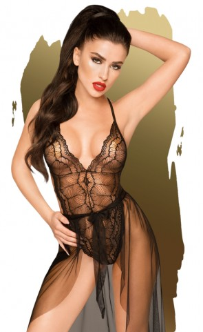 Penthouse Sheer Lace Teddy With Skirt