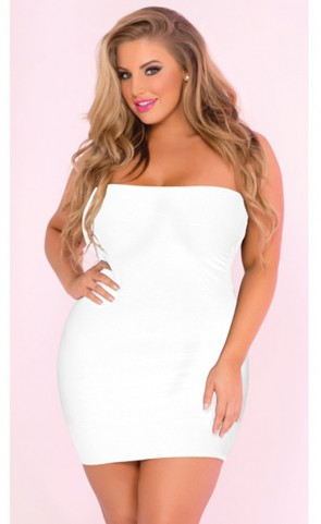 Seamless Rouched Side Tube Dress Plus Size